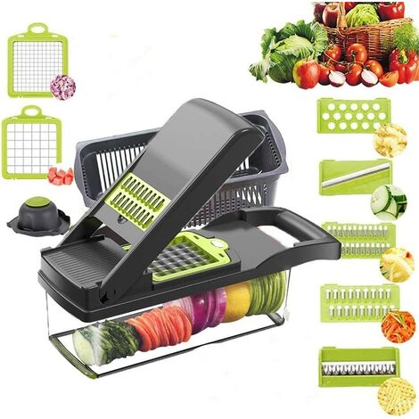 Vegetable Chopper Slicer, Food Chopper Onion Dicer Veggie Slicer Cutter with Multi-Functional Interchangeable Blades Cheese Grater for Garlic Carrot Potato Tomato Fruit Salad(grise)