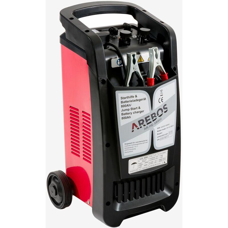 Aide au démarrage Chargeur de batterie BOOSTER 800 Chargeur de batterie 12V 24V - noir/rouge - Arebos
