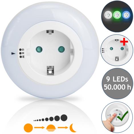 39fea92c5bacb Veilleuse avec prise électrique - 9x LED - 3 couleurs - Sécurité pour  enfants
