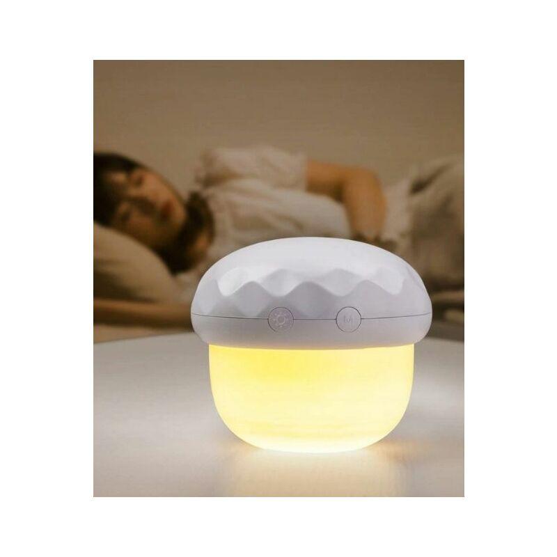 Veilleuse bébé chevet lampe champignon projection lampe atmosphère blanc - Perle Rare