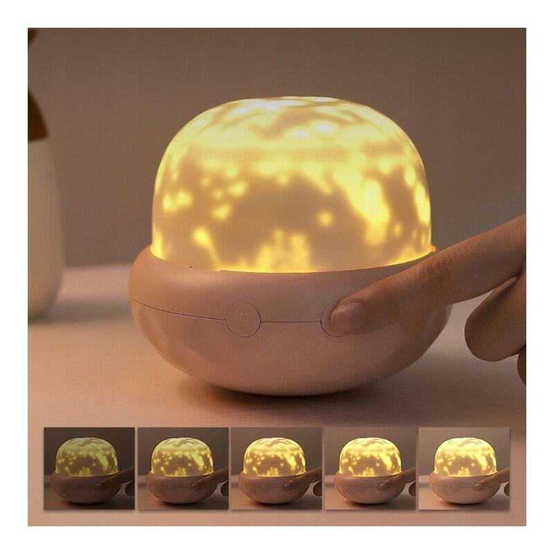 Perle rare Veilleuse lampe de chevet bébé champignon lampe de projecteur ambiance rose clair