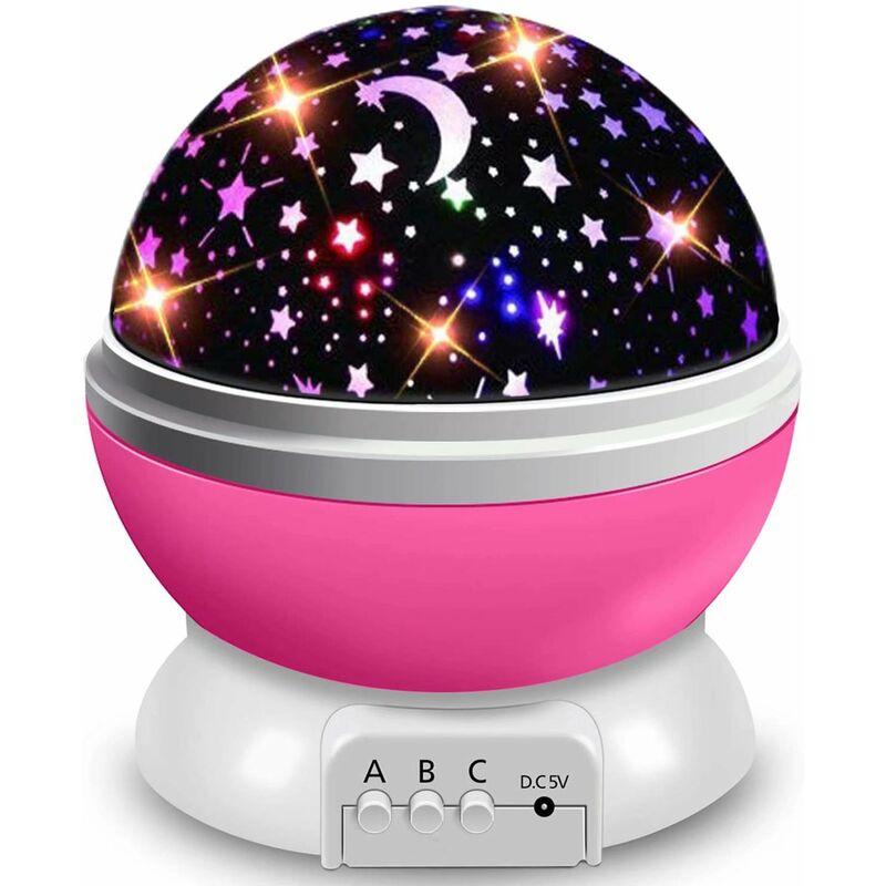 Veilleuse pour enfants, projection d'étoile, lampe de projection rotative à 360 °, plafonnier, veilleuse LED bébé 8 modes de couleur, cadeau bébé,