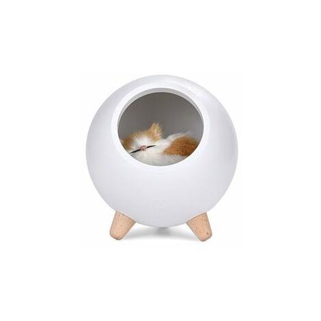 VeilleuseLED, Cadeau, Lampe de Chevet Tactile Rechargeable, Lampe Chat Cadeau (blanc)