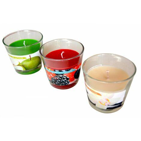 Vela aromática colorida en vaso de cristal Set de tres