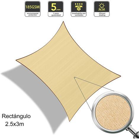 Vela de Sombra Rectangular 2.5 x 3 Metros, toldo Resistente y Transpirable, para Exteriores