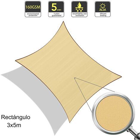 Vela de Sombra Rectangular 3 x 5 Metros, toldo Resistente e Impermeable, para Exteriores, jardín, Color Arena