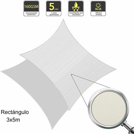 Vela de Sombra Rectangular 3 x 5 Metros, toldo Resistente e Impermeable, para Exteriores, jardín, Color Crema