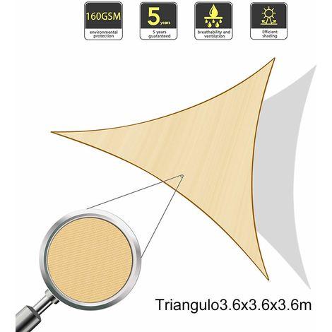 Vela de Sombra Triangular 3.6 x 3.6 x 3.6 Metros, toldo Resistente e Impermeable, para Exteriores, jardín