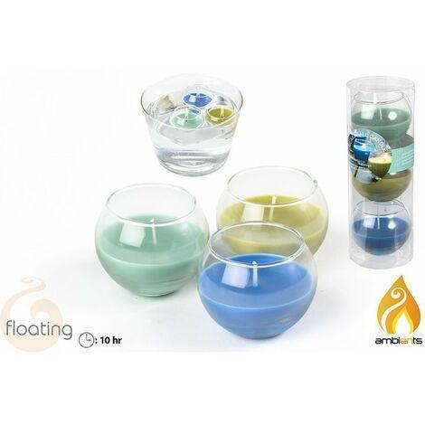 Vela flotante en vaso - Set 3 velas