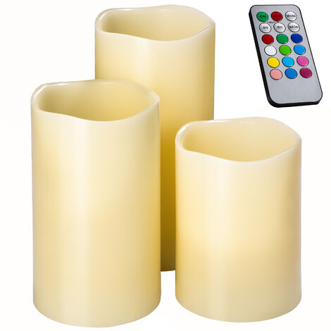 Vela LED con cambio de color - vela eléctrica con mando, vela artificial con luz led para exteriores, vela con bombilla led con cera exterior - blanco