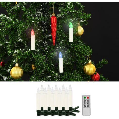 vidaXL Velas LED sin Cable Navidad Mando Distancia 10 Unidades RGB - Bianco