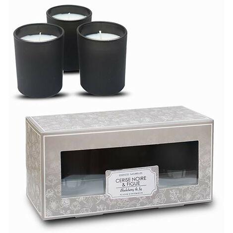 Vela Perfumada de Cereza Negra Pack 3, Velas Decorativas y Aromáticas + Vaso Cristal Negro 12 Horas 6x4 cm
