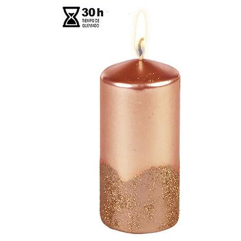 Vela/Velón para Decoración Navideña, realizada en Cera, con Purpurina. Diseño Festivo (5,5cm X 5,5cm X 17cm) - Hogar y Más Rojo