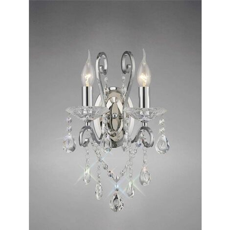 Vela wall light with switch 2 lights polished chrome / crystal