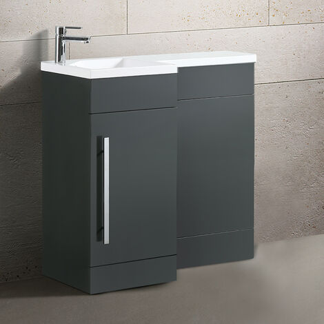 Velanil 900mm L Shape Left Hand Bathroom Grey Basin Vanity & WC Unit