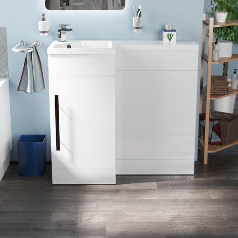 "main image of ""Velanil 900mm L Shape LH Bathroom Basin Vanity & WC Unit White"""