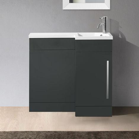 Velanil 900mm L Shape Right Hand Bathroom Grey Basin Vanity & WC Unit