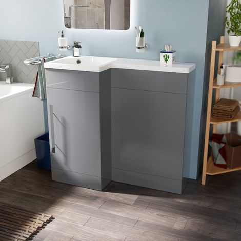Velanil 900mm Left Hand Light Grey Basin Combination Vanity Unit