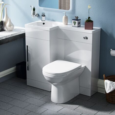 Velanil 900mm Left Hand White Basin Combination Vanity Unit - Welbourne Back To Wall Toilet
