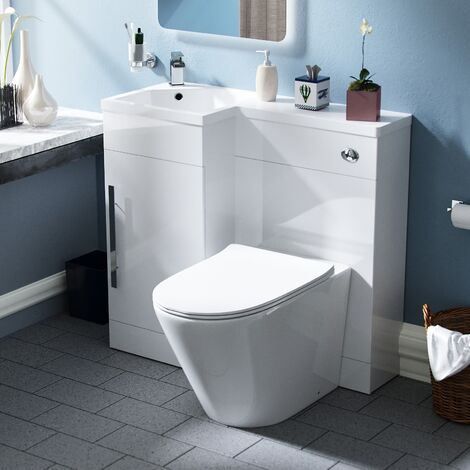 Velanil 900mm LH Bathroom Basin Combination Vanity Unit - Ellis Back To Wall Rimless Toilet
