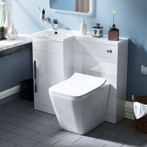 Velanil 900mm LH Bathroom Basin Combination Vanity Unit - Inton Back To Wall Rimless Toilet