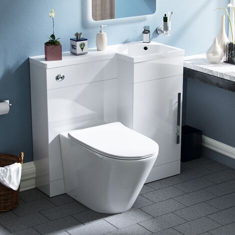 Velanil 900mm RH Bathroom Basin Combination Vanity Unit - Ellis Back To Wall Rimless Toilet