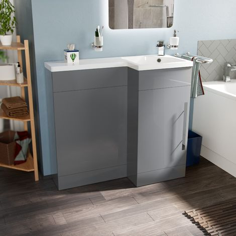 Velanil 900mm Right Hand Light Grey Basin Combination Vanity Unit