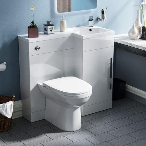 Velanil 900mm Right Hand White Basin Combination Vanity Unit - Melbourne Back To Wall Toilet