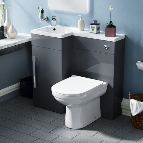 Velanil Left Hand Dark Grey Bathroom Basin Combination Vanity Unit WC with Toilet