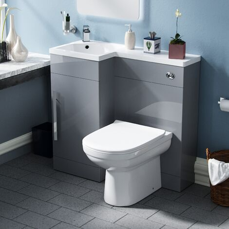 Velanil Left Hand Light Grey Bathroom Basin Combination Vanity Unit WC with Toilet