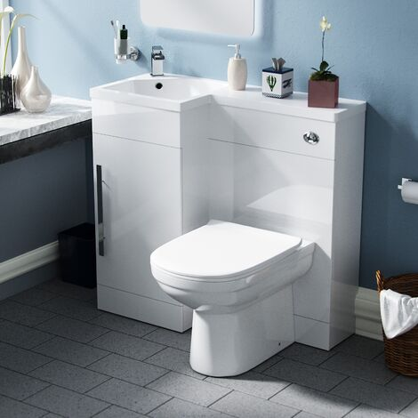 Velanil Left Hand White Bathroom Basin Combination Vanity Unit WC with Toilet