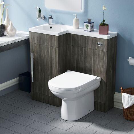 Velanil Left Hand Wood Grey Bathroom Basin Combination Vanity Unit WC with Toilet