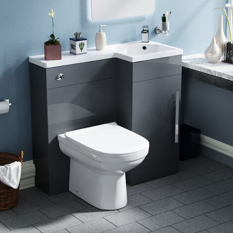 Velanil Right Hand Dark Grey Bathroom Basin Combination Vanity Unit WC with Toilet