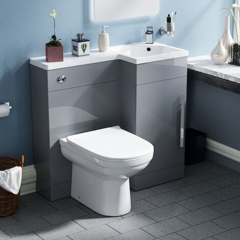 Velanil Right Hand Light Grey Bathroom Basin Combination Vanity Unit WC with Toilet