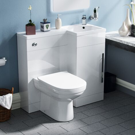 Velanil Right Hand White Bathroom Basin Combination Vanity Unit WC with Toilet