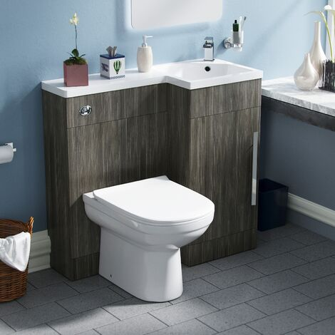 Velanil Right Hand Wood Grey Bathroom Basin Combination Vanity Unit WC with Toilet