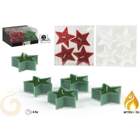 Velas de navidad en forma de estrella 4 unidades - Edición Dulce Navidad - Hogar y más Blanco