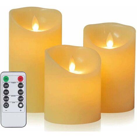 Velas LED de Da by, vela sin llama 300 horas de duración de la batería Juego de velas decorativas 3 (10 cm, 12,5 cm, 15 cm). La llama LED parpadeante real está hecha de cera real en color marfil. Control remoto de 10 teclas