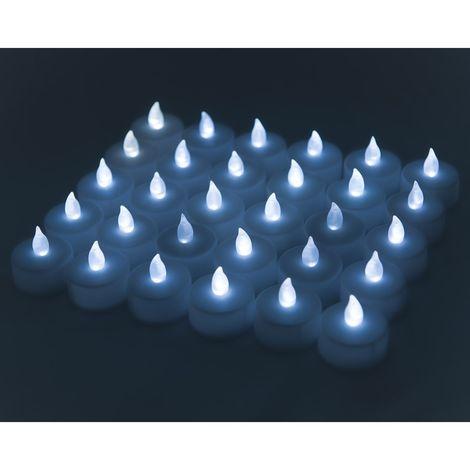 Velas LED realistas, 30pcs de 3.8 x 3.7 cm, Ideales para Navidad, Halloween, Fiestas y Celebraciones, Color Blanco [Clase de eficiencia energética A+++]