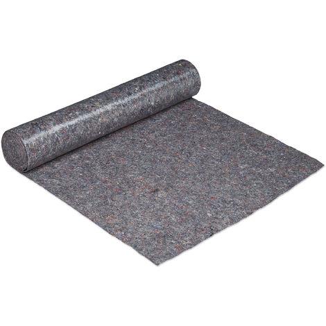 Vellón de pintor, Rollo cubre suelos, 1 m x 25 m = 25m², Antideslizante, Impermeable, 270g/m², Gris