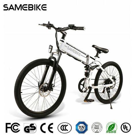 Vélo de montagne pliant électrique Hummer SAMEBIKE LO26 26 pouces Jante de rayon 48V 10.4AH 350W 21Speed | Blanc