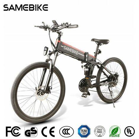Vélo de montagne pliant électrique Hummer SAMEBIKE LO26 26 pouces Jante de rayon 48V 10.4AH 350W 21Speed | Noir métal