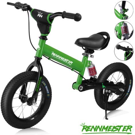 """Vélo draisienne pour enfants vert foncé """"Rennmeister"""" sans pédale max 50kg frein"""