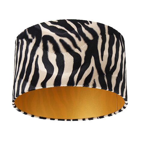 Velor lampshade zebra design 35/35/20 gold inside