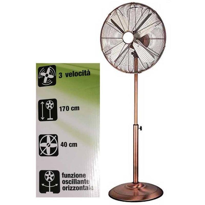 Ventilatore A Piantana Color Rame 170Cm Regolabile 3 Velocità Pala 40Cm 45W Cfg