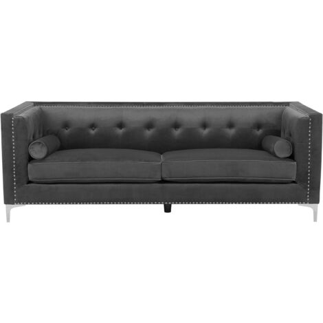 Velvet 3 Seater Sofa Dark Grey AVALDSENES