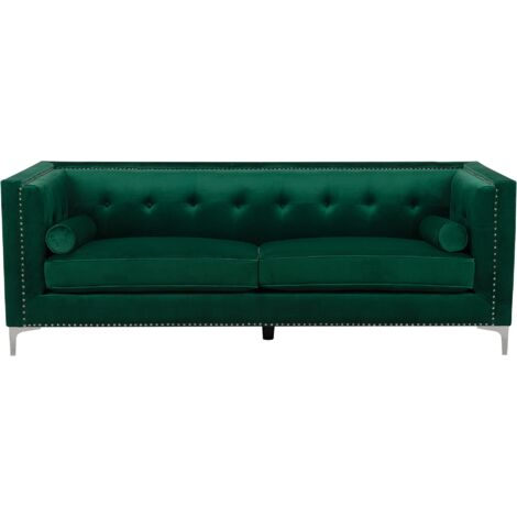 Velvet 3 Seater Sofa Emerald Green AVALDSENES