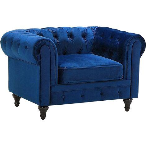 Velvet Armchair Blue CHESTERFIELD