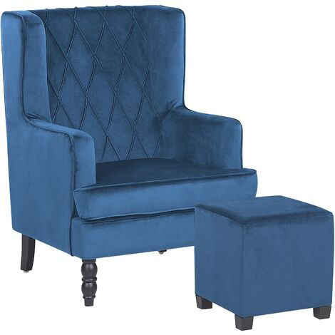 Velvet Armchair with Footstool Blue SANDSET