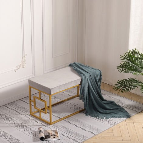 Velvet Bench Long Seat Chair Stool for Dining Room Hallway Bedroom